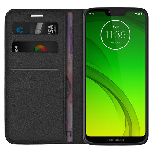 Leather Wallet Case & Card Pouch for Motorola Moto G7 Power - Black